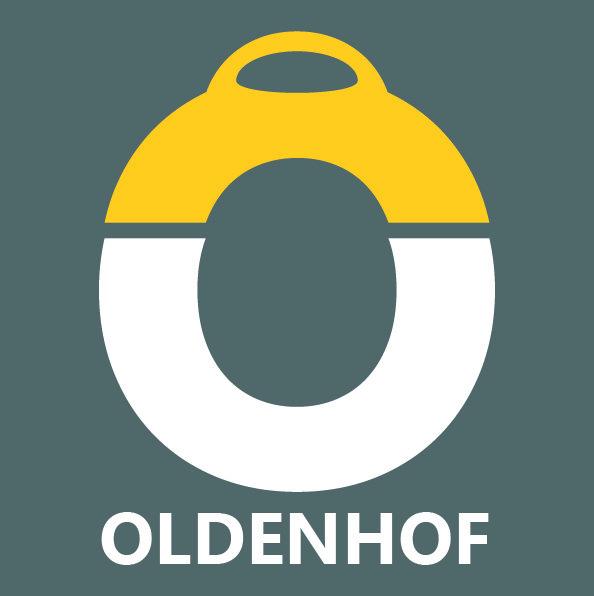 Oldenhof bolzeef met zwarte greep rond 16 cm rvs-kunststof