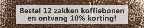 productbanner 12 zakken koffiebonen met 10% korting