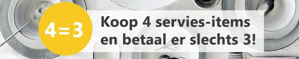 4=3 op servies